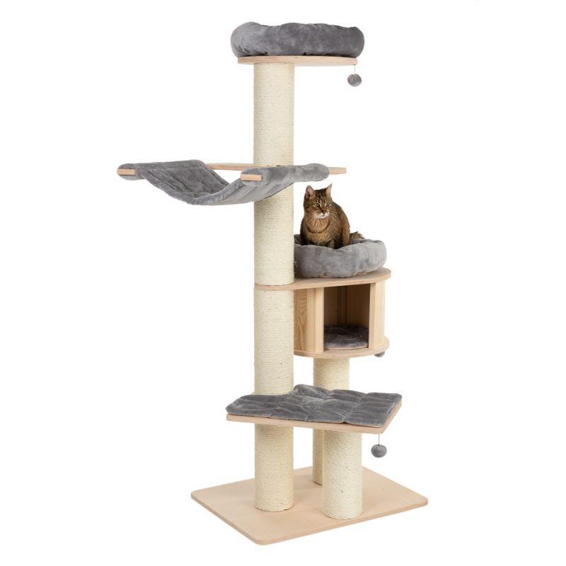 Игровой комплекс для котов с когтеточкой и домиком Eco Premium XL серый, когтеточка и домик для кота
