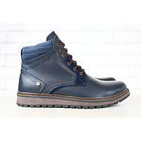 Ботинки мужские кожаные, зимние, на шнурках, синие, на меху, фото 1