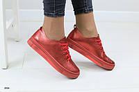 Женские кеды, из натуральной кожи, красные, на шнурках 37