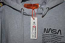 Мужская кофта - Худи в стиле Heron Preston x NASA серый, фото 3