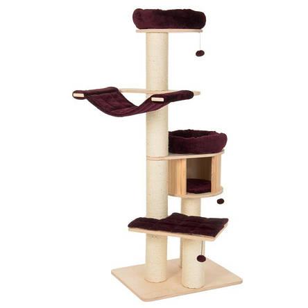 Игровой комплекс для котов с когтеточкой и домиком Eco Premium XL бордовый, когтеточка и домик для кота, фото 2