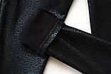 Лосины утепленные р.140 SmileTime с кожаным принтом Black Leopard, черный, фото 3