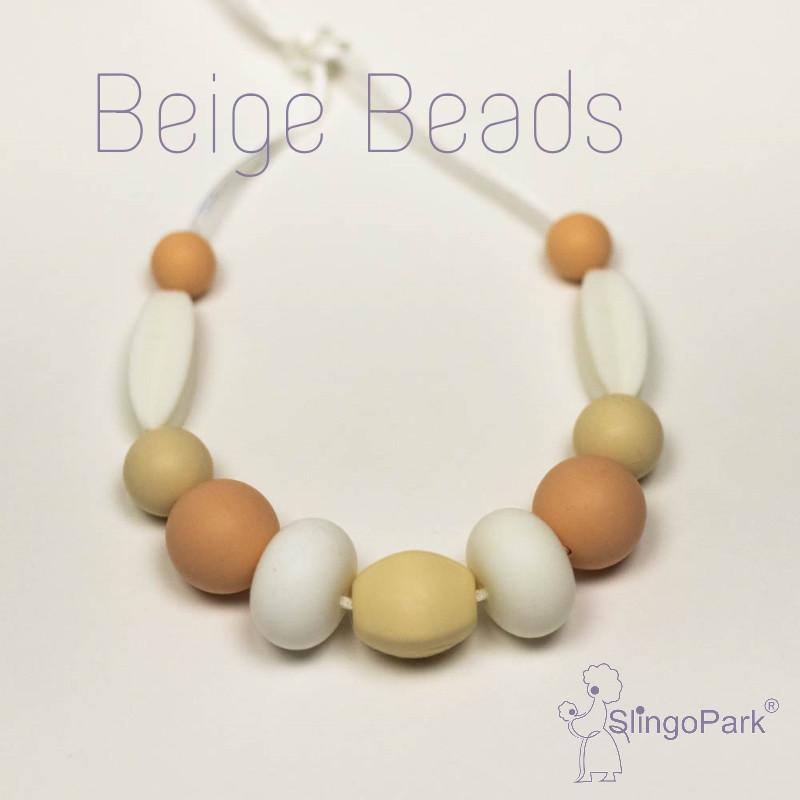 Силиконовые слингобусы Beige Beads BABY MILK TEETH