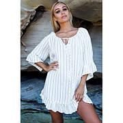 Короткое белое в тонкую полоску платье коттон -405-16