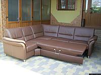 Новий шкіряний диван, розкладний (5316). ДНІПРО