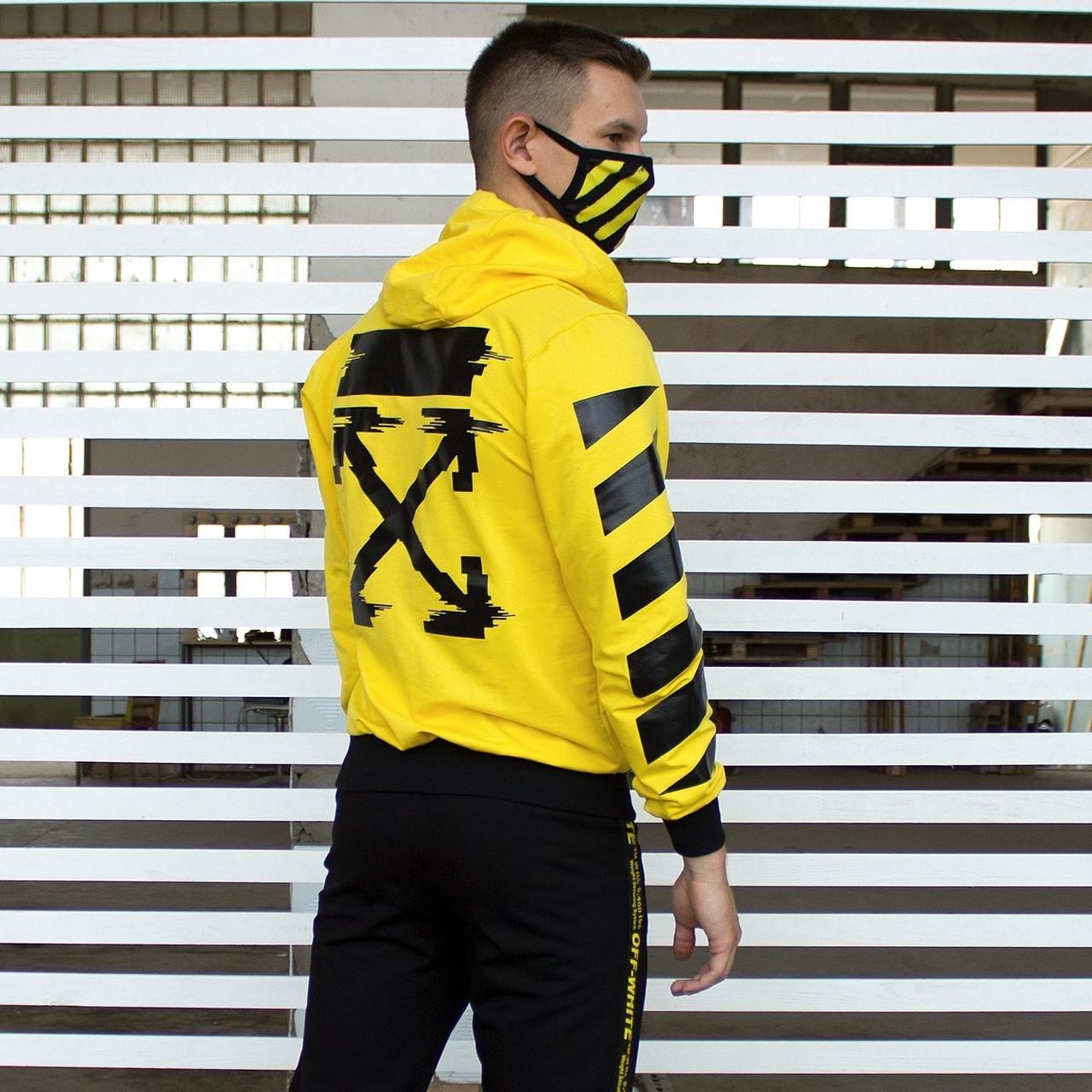 Мужская кофта - Худи в стиле OFF-White желтый