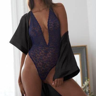 Victoria's Secret Сексуальное Кружевное Боди Floral Lace Plunge Teddy р. М, Синий