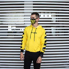 Мужская кофта - Худи в стиле OFF-White желтый, фото 3