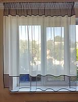Тюль до подоконника Фатинка с лиловым низом, фото 1