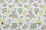 Лоскут фланели с салатовыми, жёлтыми и бежевыми звёздами, размер 25*160, фото 3