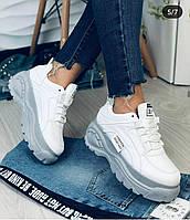 Женские белые кроссовки на высокой платформе