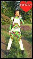 Трикотажный спортивный костюм Матрешка салатовый платок