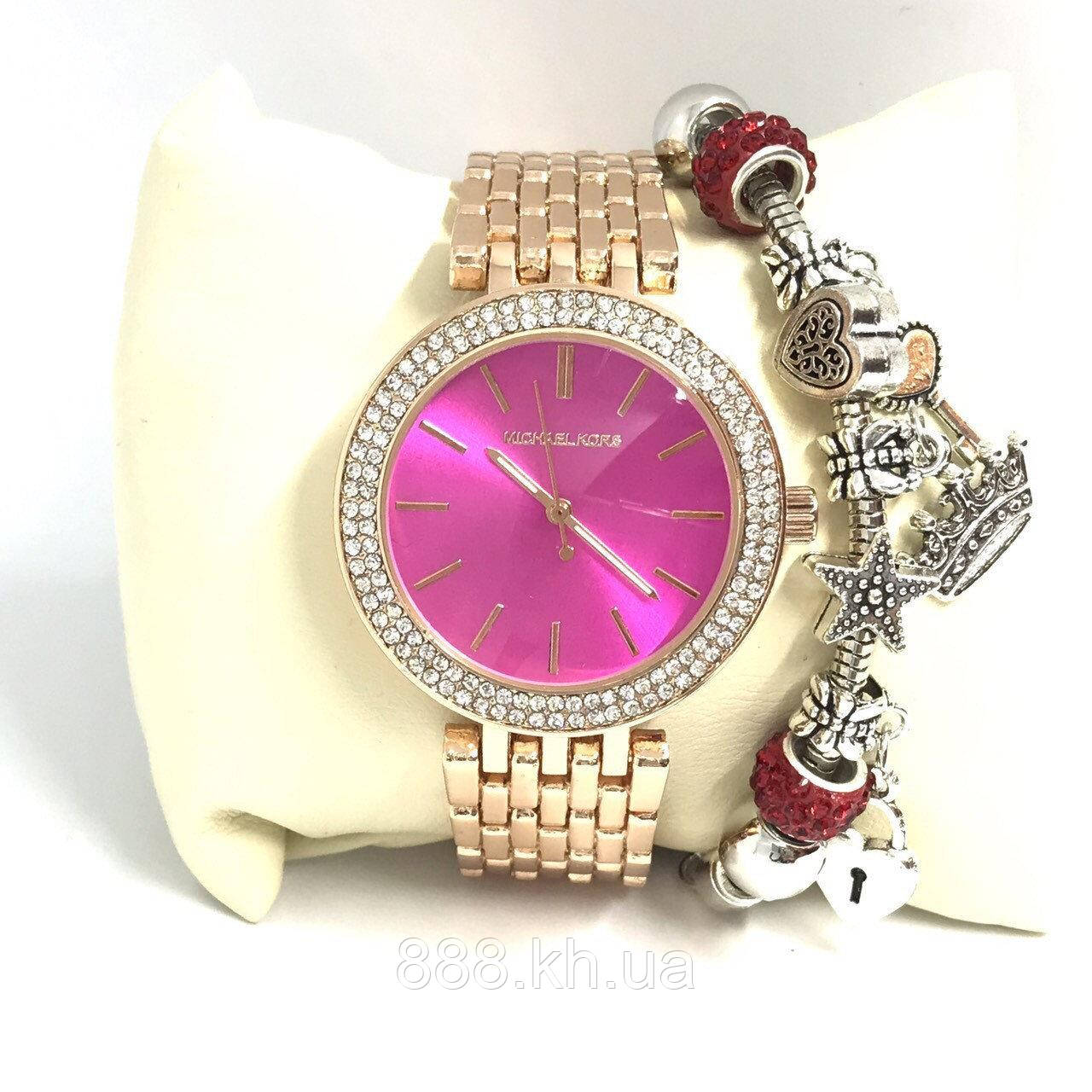 Женские наручные часы Michael Kors копия класса люкс, жіночі годинники Michael Kors (розовое золото/малиновый)