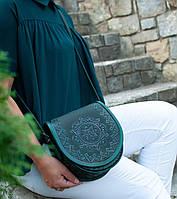 Кожаная женская сумка, зелёная сумочка, сумка через плечо,  авторская сумка ручной работы, фото 1