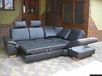 Новий шкіряний диван, розкладний (5315)