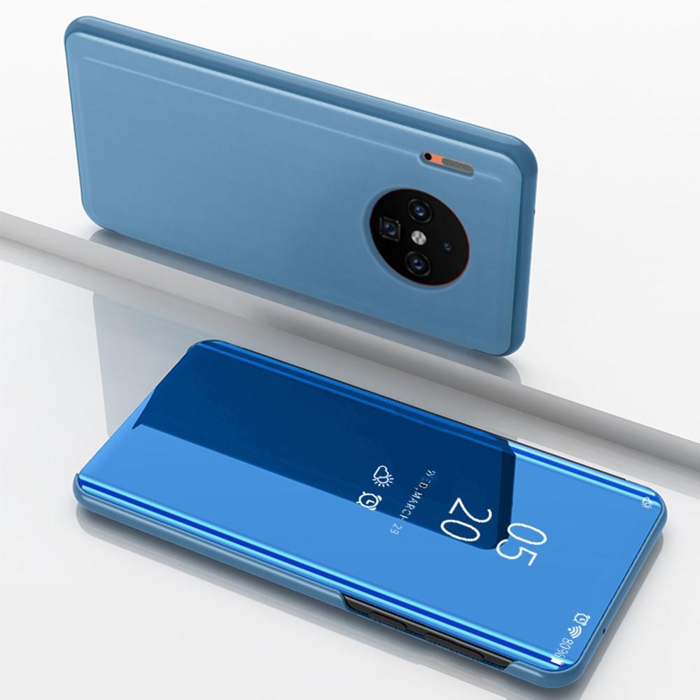 Чехол книжка для Huawei Mate 30 боковой с зеркальной поверхностью, голубой