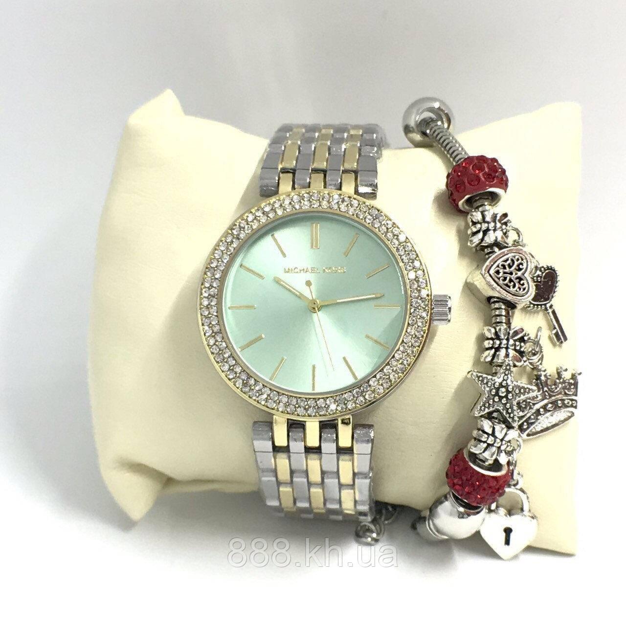 Женские наручные часы Michael Kors копия класса люкс, жіночі годинники Michael Kors (серебро+золото/голубой)