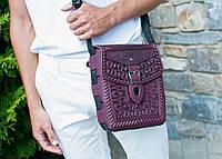 """Кожаная фиолетовая сумка ручной работы с тисненым орнаментом """"Подкова"""", формат А5, фото 1"""