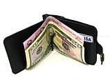 Зажим для денег кожаный DNK Leather черный. Зажим для денег на кнопке, фото 5