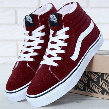 Женские зимние кеды Vans Old Skool high CANVAS SK8-HI с мехом, vans old school, ванс олд скул, фото 2