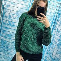 Женский теплый вязаный свитер с геометрическим узором