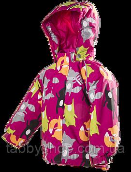 """Термокуртка зимняя PIDILIDI """"Лисички"""" для девочки. Размеры: 80, 86, 92, 98"""