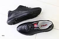 Женские кроссовки кожаные черные, фото 1