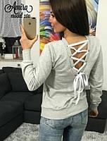Кофта женская с лентами и вырезом на спине