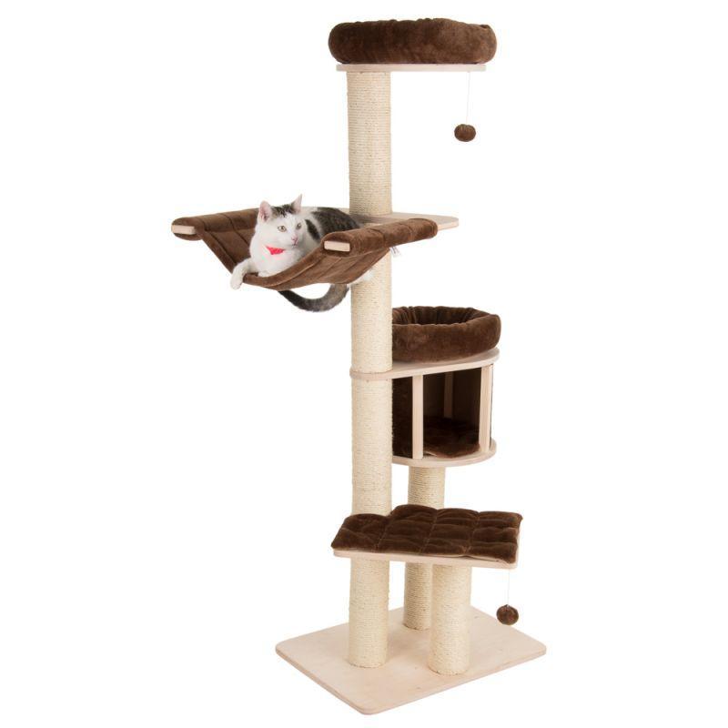 Игровой комплекс для котов Eco Premium S с домиком для кошки и когтеточкой