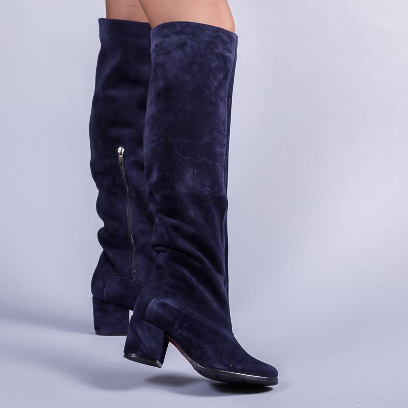 Замшевые синие сапоги на комфортном каблуке. Пошив в любом цвете по личным меркам