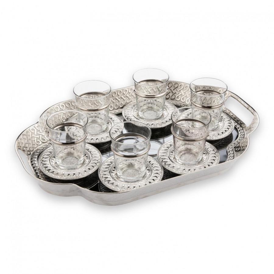 Набор чайных стаканов Doreline Серебристый Ажур с подносом на 6 персон