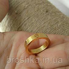 Тонкое кольцо Cartier Love в лимонной позолоте без камней, фото 3