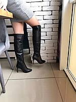 Кожаные высокие ботфорты на шпильке