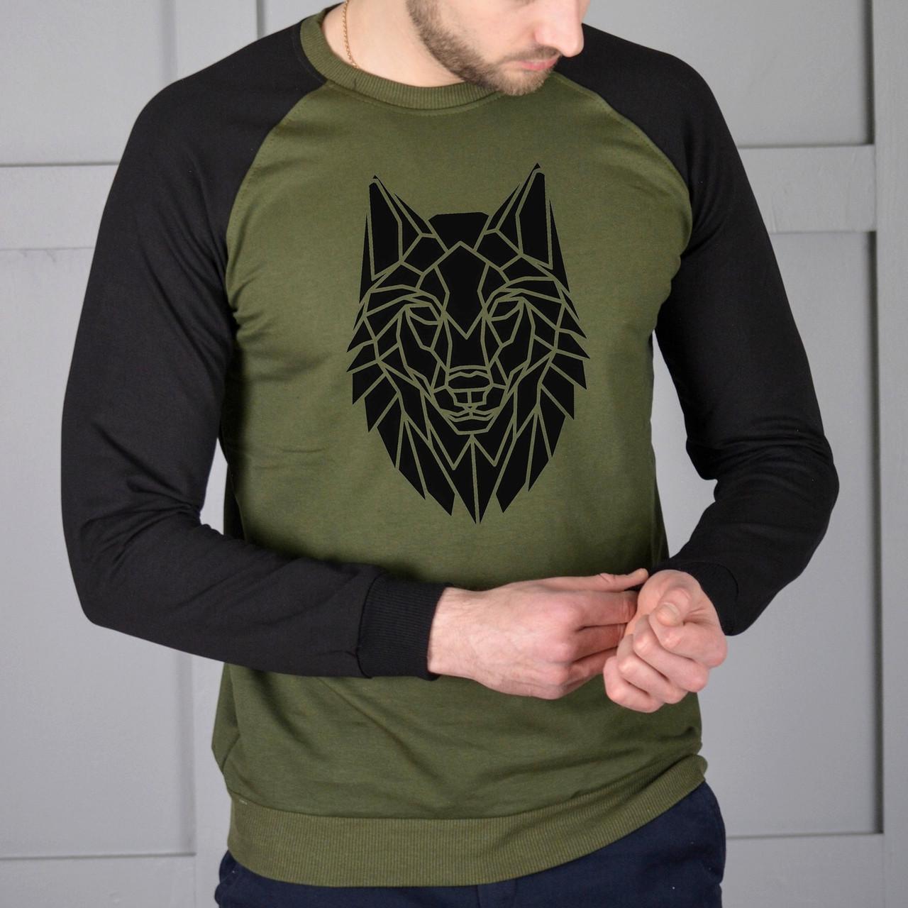 Мужская кофта - Реглан Волк двух-цветный (черный-хаки)