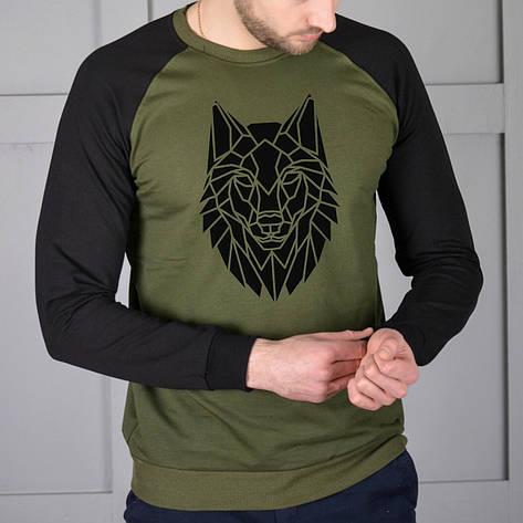 Мужская кофта - Реглан Волк двух-цветный (черный-хаки), фото 2