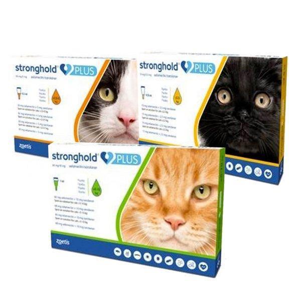 Капли Стронгхолд Плюс для котов 2,5-5кг (капли на холку от блох, яиц блох, клещей и глистов)