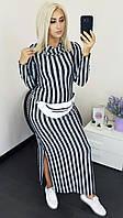 Ангоровое женское платье в полоску батал тёмно-серый