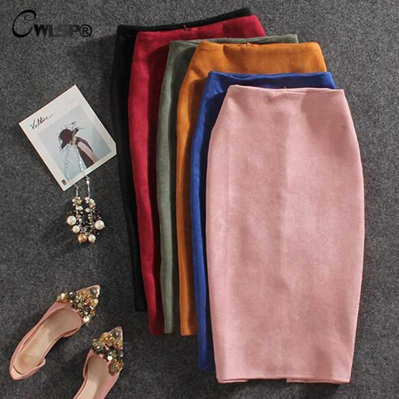 Женская юбка карандаш из замши
