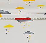 """Лоскут ткани """"Облака с дождиком"""" желто-оранжевого цвета № 889, размер 33*80 см, фото 4"""