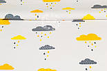"""Лоскут ткани """"Облака с дождиком"""" желто-оранжевого цвета № 889, размер 33*80 см, фото 5"""