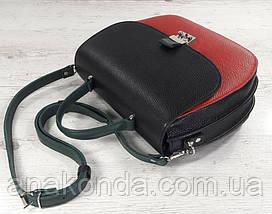 581-к Натуральная кожа Сумка женская красная Кожаная сумка черная красная кожаная сумка кожаная красная черная, фото 2