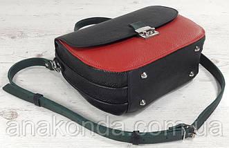 581-к Натуральная кожа Сумка женская красная Кожаная сумка черная красная кожаная сумка кожаная красная черная, фото 3