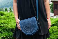 Кожаная женская сумка, синяя сумка, сумка через плечо, тобивка, фото 1