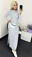 Ангоровое женское платье в полоску батал светло-серый