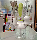 Ручной кухонный погружной блендер ProMotec PM-589 3 в 1 с чашей, фото 7