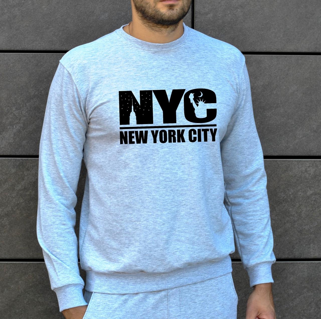 Мужская кофта - Свитшоты New York City серый (утеплен)
