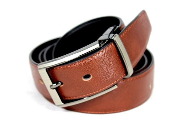 Ремень двухсторонний кожаный Alon z350509 115 см черный, рыжий