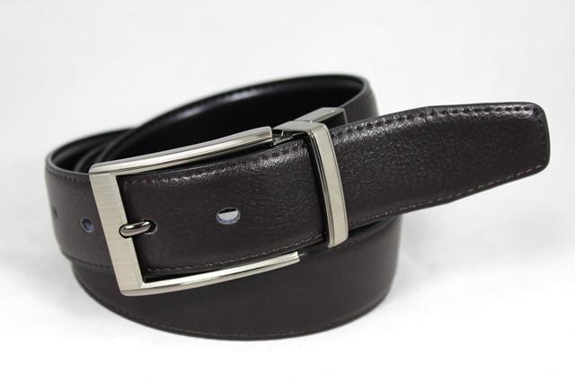 Ремень мужской двухсторонний кожаный для брюк Alon z350363 115 см, Черный, коричневый