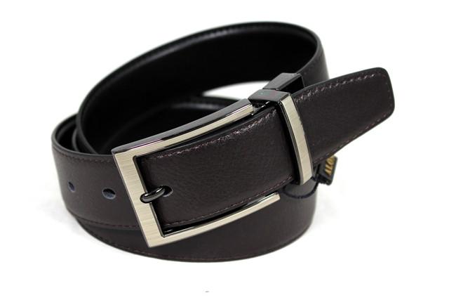 Ремень мужской двухсторонний кожаный для брюк Alon z350313 120 см, Черный, коричневый
