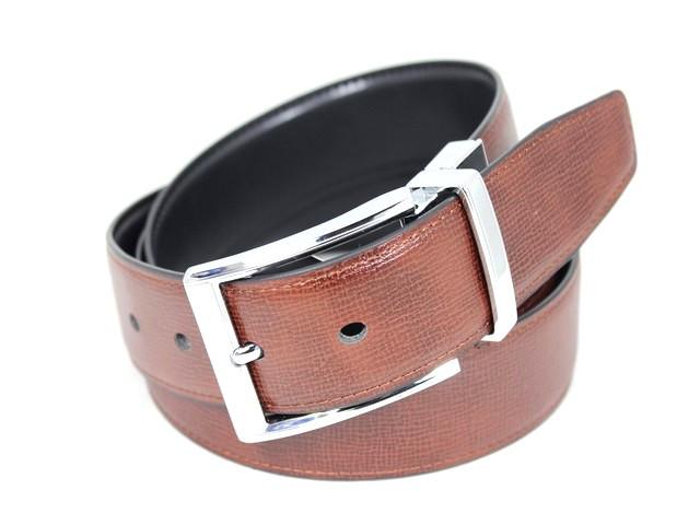 Ремень мужской двухсторонний кожаный для брюк Alon z350209 120 см, Черный, коричневый
